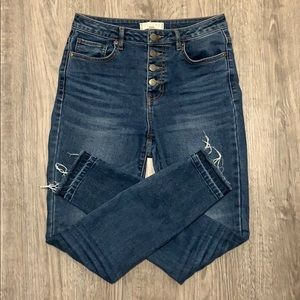 Harper High Waisted Button Skinny Jeans